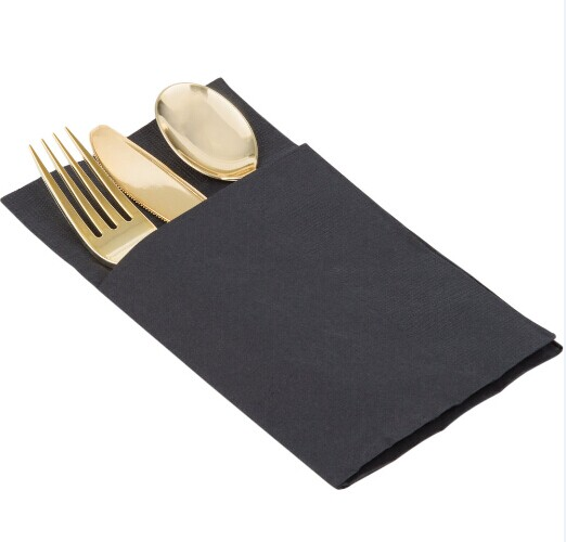 EaMaSy Party Visions Gold Heavy Weight Plastic Cutlery Set with Black Pocket Fold Napkin