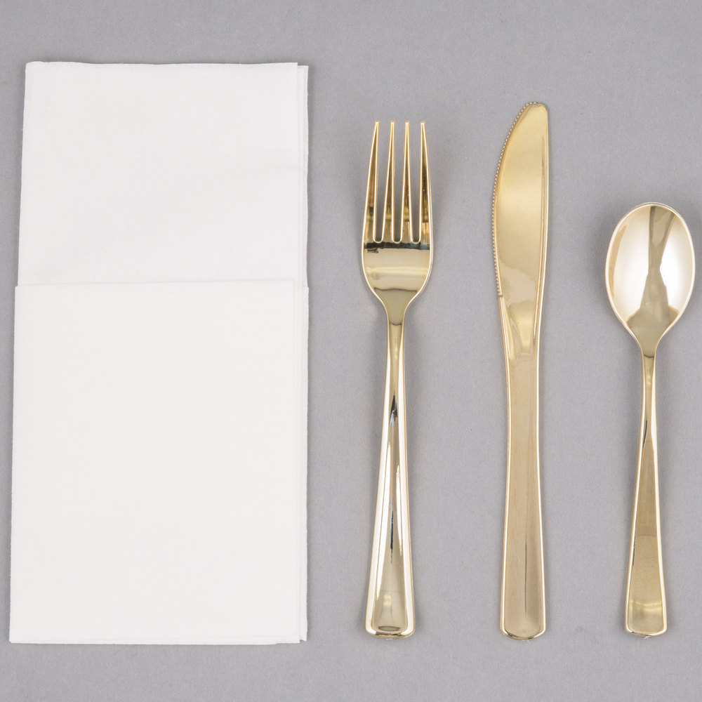 EaMaSy Party Visions Gold Heavy Weight Plastic Cutlery Set with White Linen-Feel Napkin