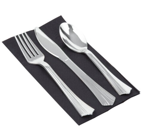 EaMaSy Party Visions Silver Heavy Weight Plastic Cutlery Set with Black Pocket Fold Napkin