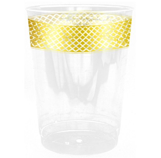 EASY PARTY PLASTIC DECORATED CRYSTAL CREAM-GOLD