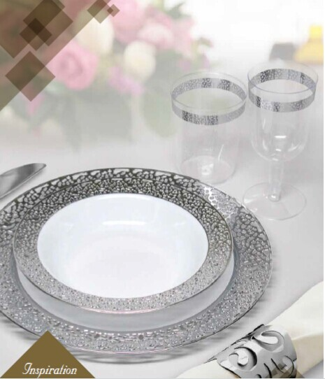 EASY PARTY  Plastic Polished Silver Inspiration Effect