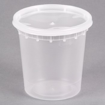 24OZ Microwavable Translucent Plastic Deli Container With LID