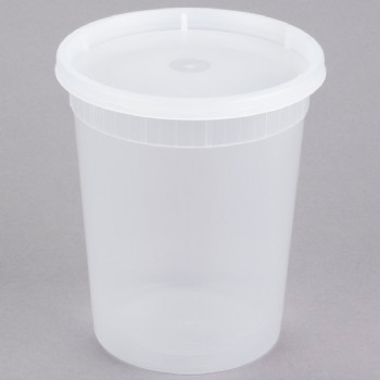 32OZ Microwavable Translucent Plastic Deli Container With LID