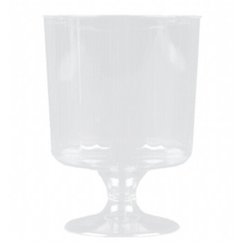 EaMaSy Party Classicware 8 oz. Clear Plastic Pedestal Wine Cup