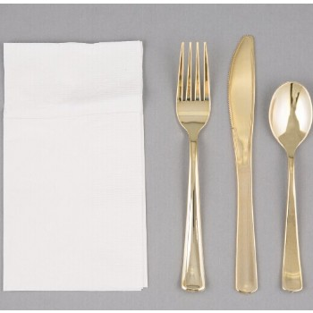 EaMaSy Party Visions Gold Heavy Weight Plastic Cutlery Set with White Pocket Fold Napkin