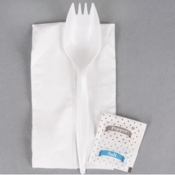 EaMaSy  Party   Wrapped White Medium Weight Plastic Spork, Napkin, and Salt / Pepper Packets Kit