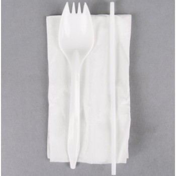 EaMaSy  Party  Wrapped White Medium Weight Plastic Spork, Straw, and Napkin Kit