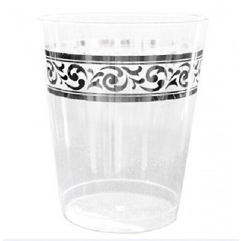 Easy Party 10 Oz. Premium Plastic Tumblers With Silver Trim