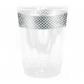 Easy Party Decor Crystal 10 oz Silver Plastic Tumblers
