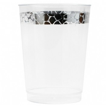 Easy Party Decor Hammered 10 oz Silver Plastic Tumblers
