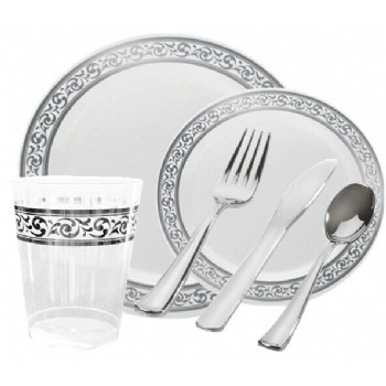 EASY PARTY Premium GRAND White And Silver Wedding Package