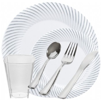 Easy Party The Swirl White With Silver Party Package