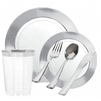 EASY PARTY White Silver Border Premium Tableware - Grand Wedding Package